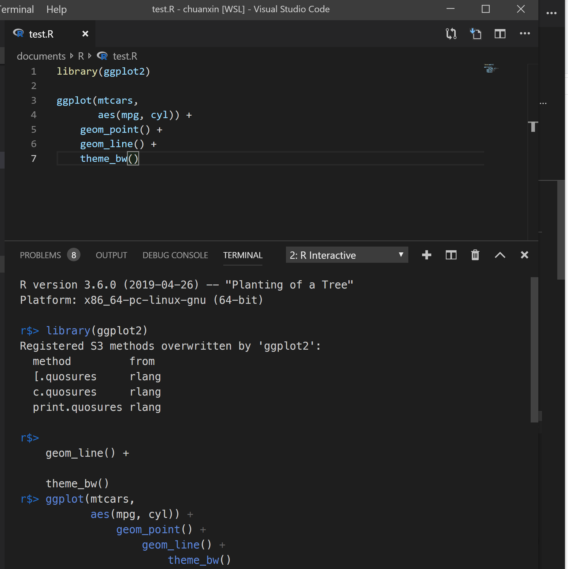 Messy indentation in console when receiving text from vscode