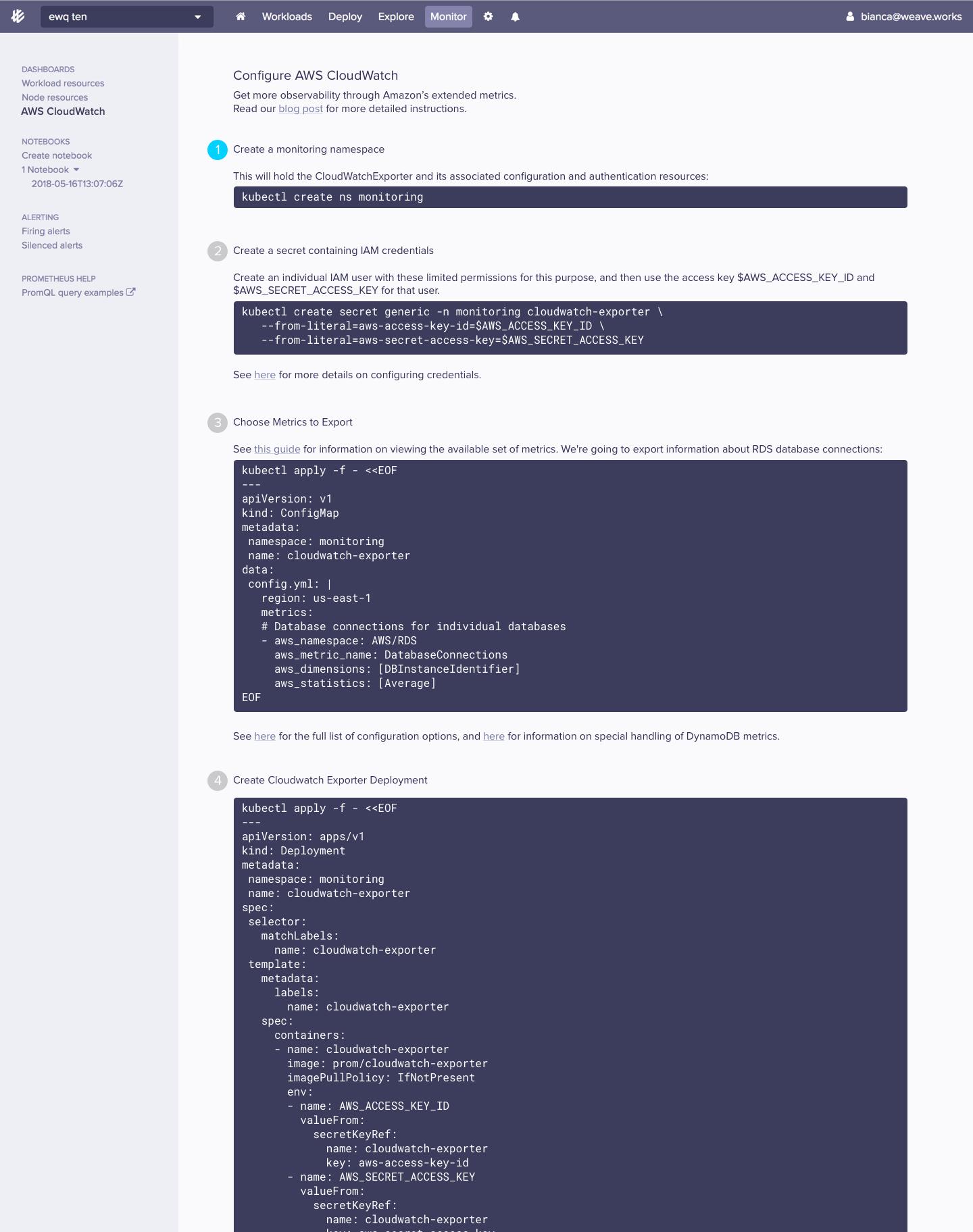 Add docs/commands to setup AWS secrets/Configmaps · Issue