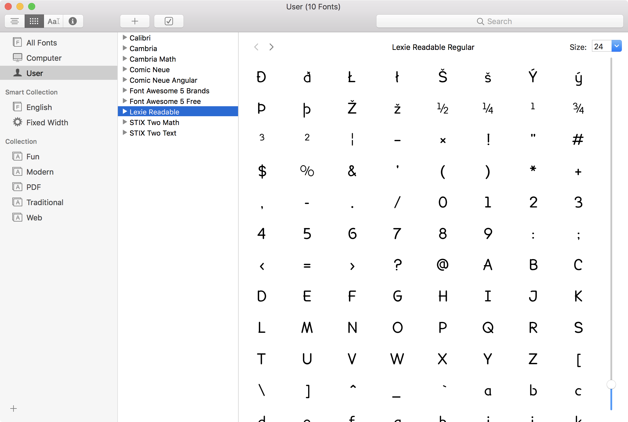 FA5 OFT font displaying poorly and incompletely in Mac Font