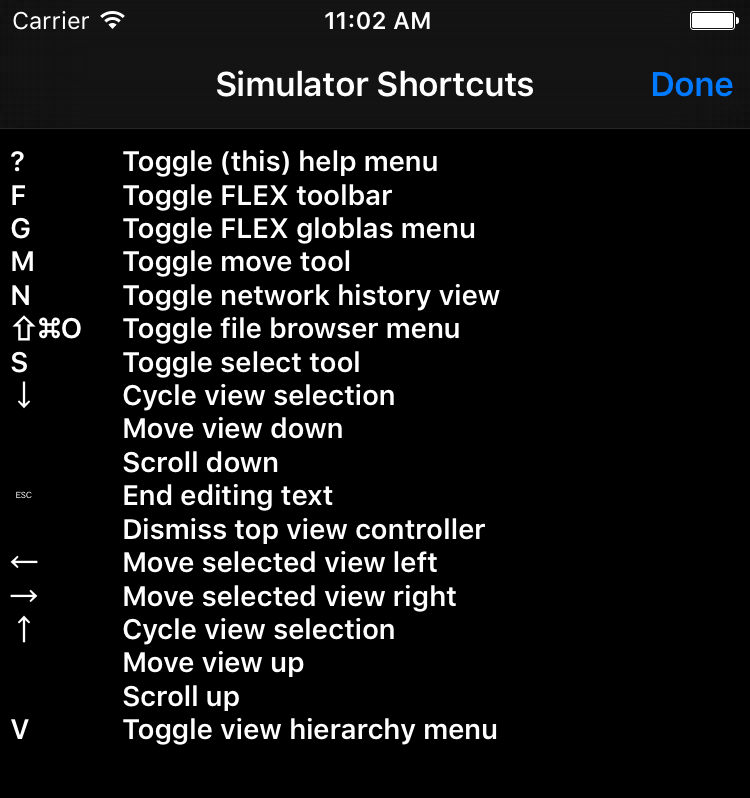 Simulator Keyboard Shortcuts