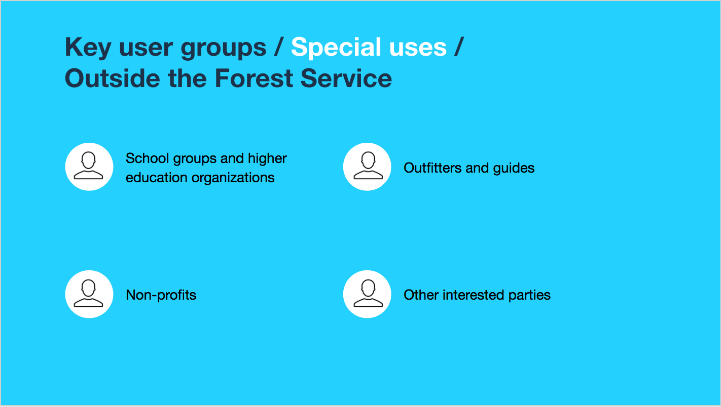 Key user groups / Special uses / Outside the Forest Service: School groups and higher education organizations; Outfitters and guides; Non-profits; Other interested parties