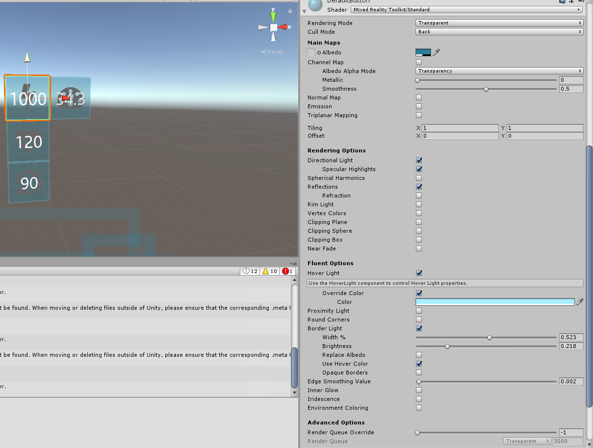 Add a 0-1 0 Transparency to MRTK Standard Shader for ease of