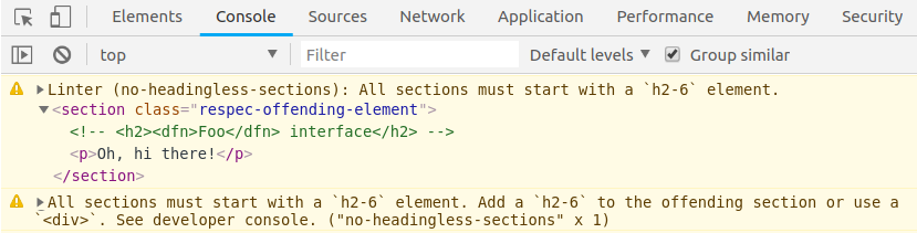 developer console with warning for no-headingless-sections