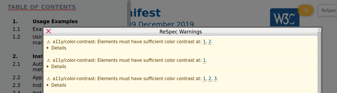 Accessibility warnings in ReSpec