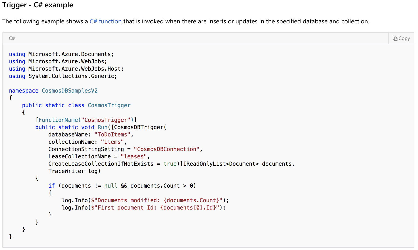 Add samples for Cosmos DB · Issue #34 · Azure/azure-functions-java