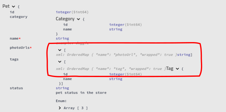 XML hints in the Model view show
