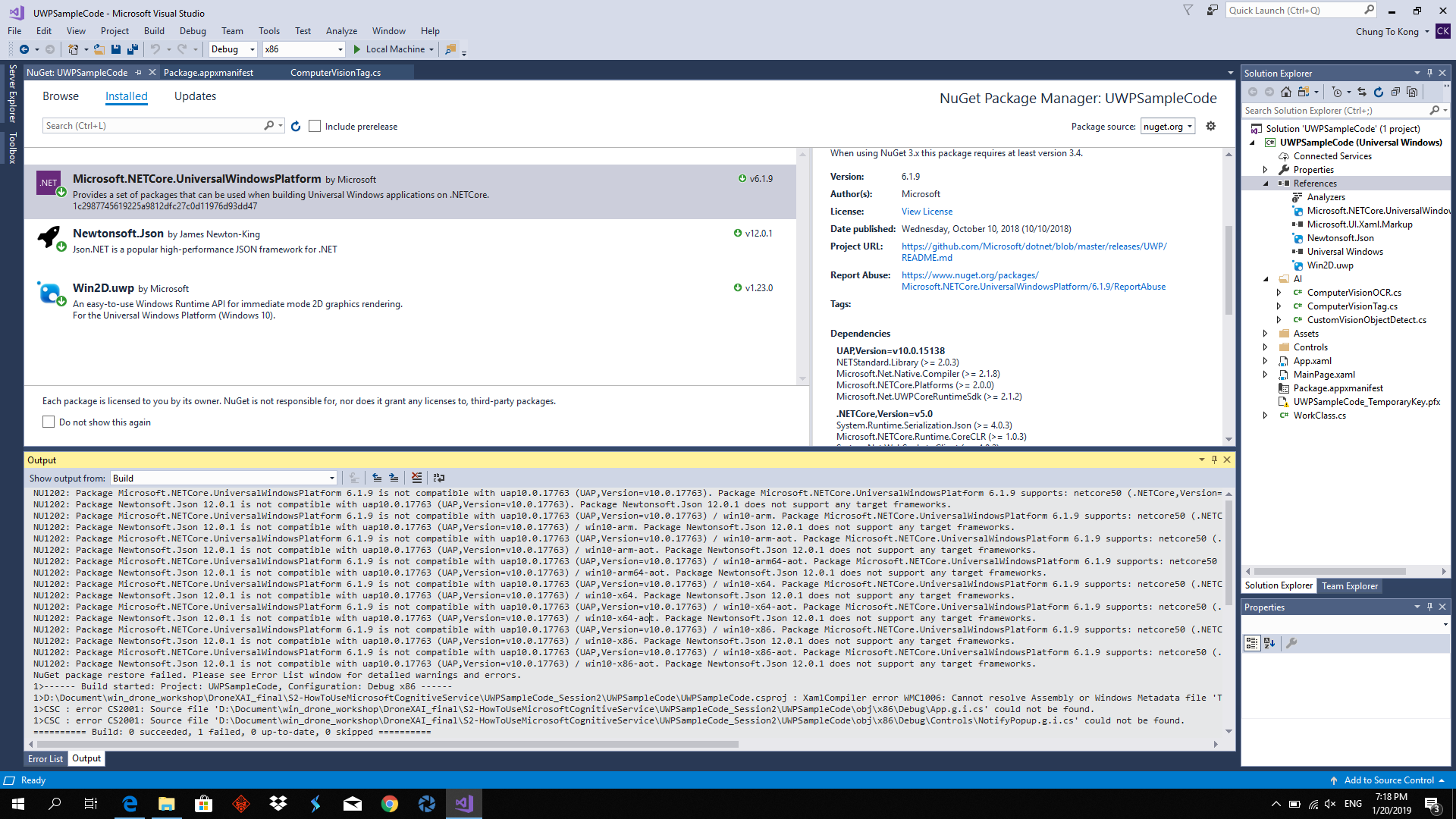 Developers - 6 1 9 is not compatible with uap10 0 17763 -