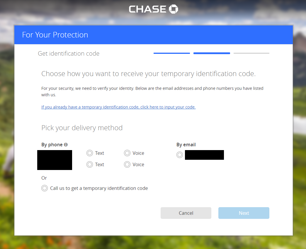 Chase is listed as having 2 factor auth enabled, yet it