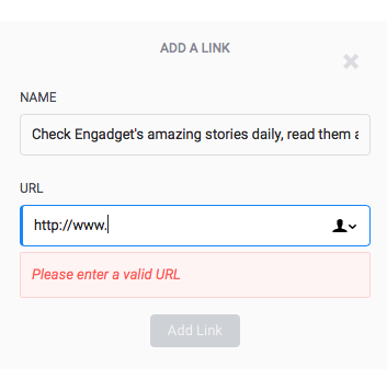 40] Do not display error until the user has completed the URL