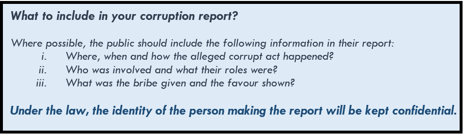 What to include in your corruption report