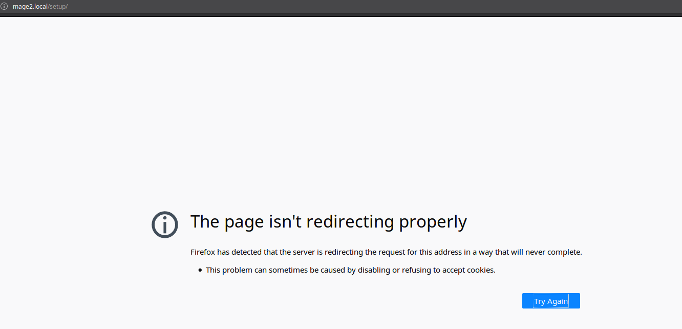 Magento Setup: the page isn't redirecting properly · Issue