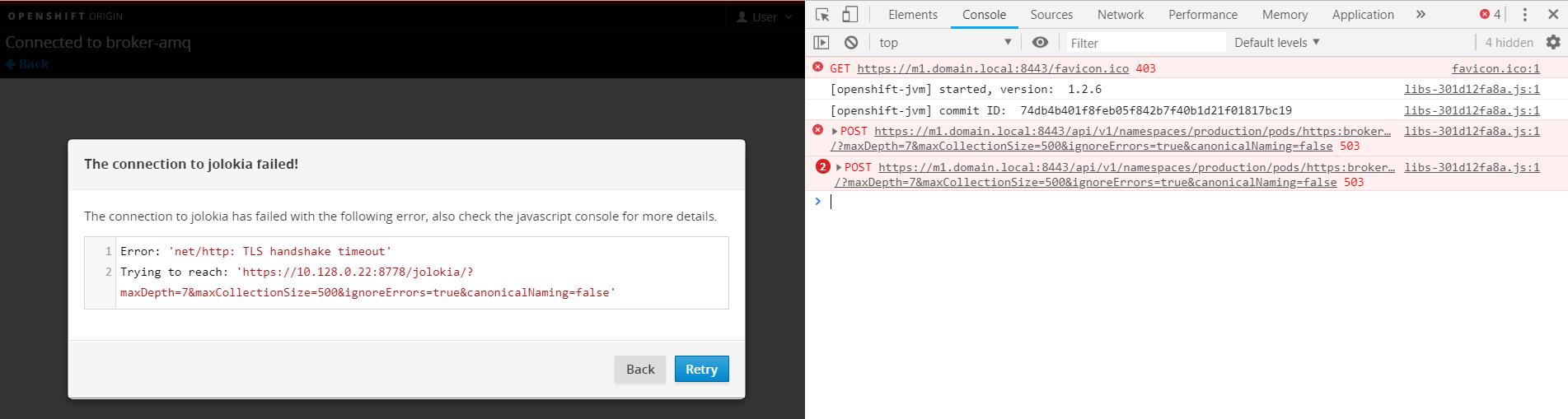 Error: 'net/http: TLS handshake timeout' - AMQ Broker