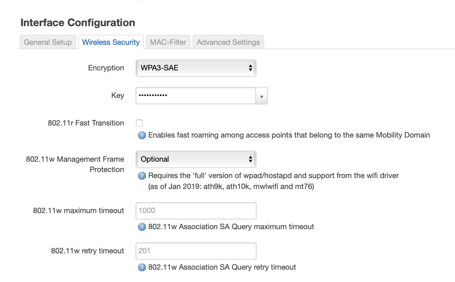 OpenWrt WPA3 Screenshot
