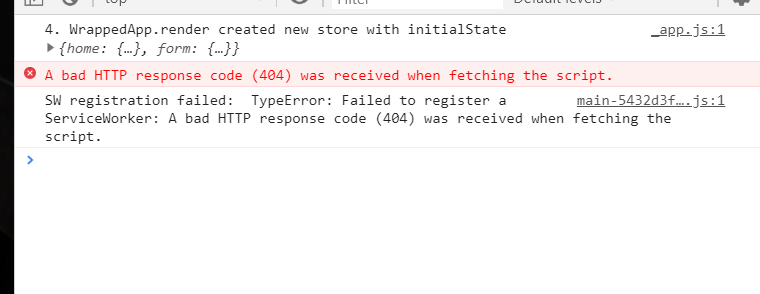 A bad HTTP response code (404) was received when fetching
