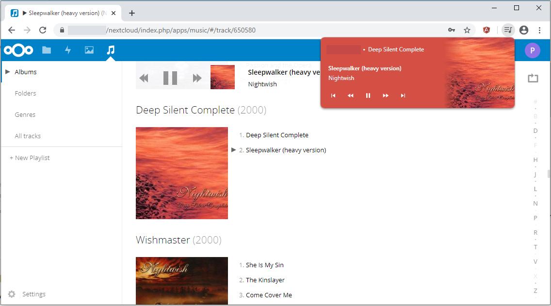 Chrome media control panel