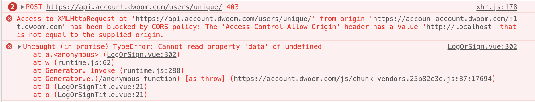 The 'Access-Control-Allow-Origin' header is not equal to the