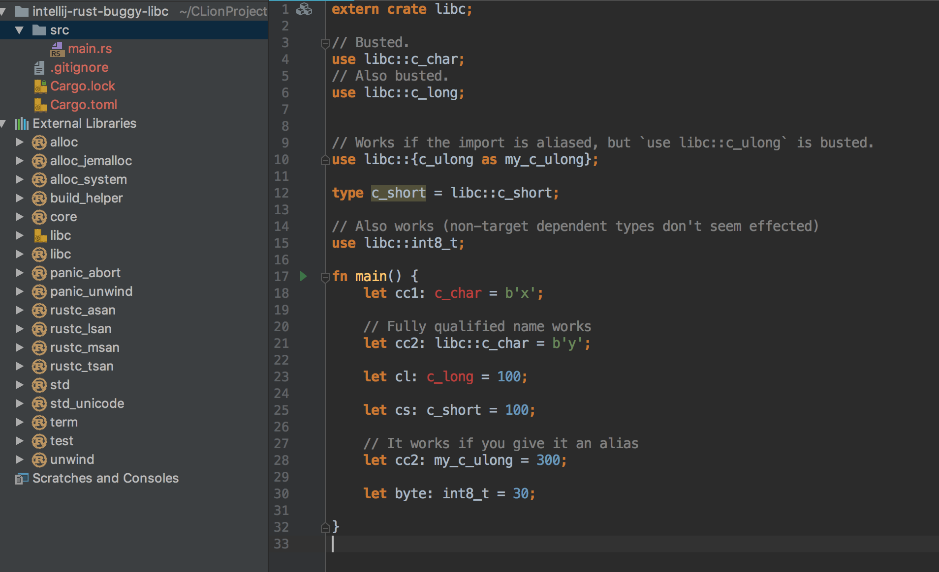 Can't use some imports from libc crate · Issue #2532 · intellij-rust