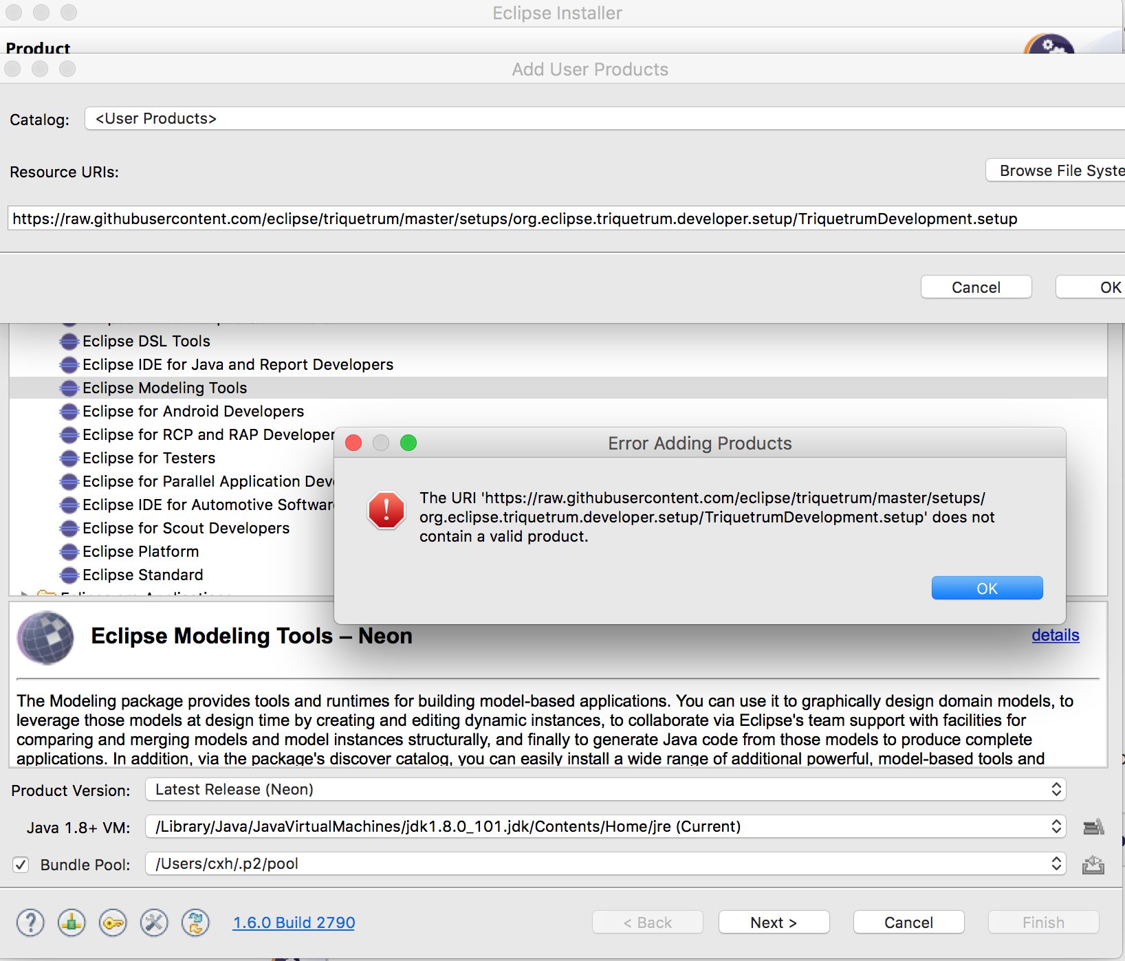 Triquetrum Eclipse installer: Error Adding Products · Issue #252