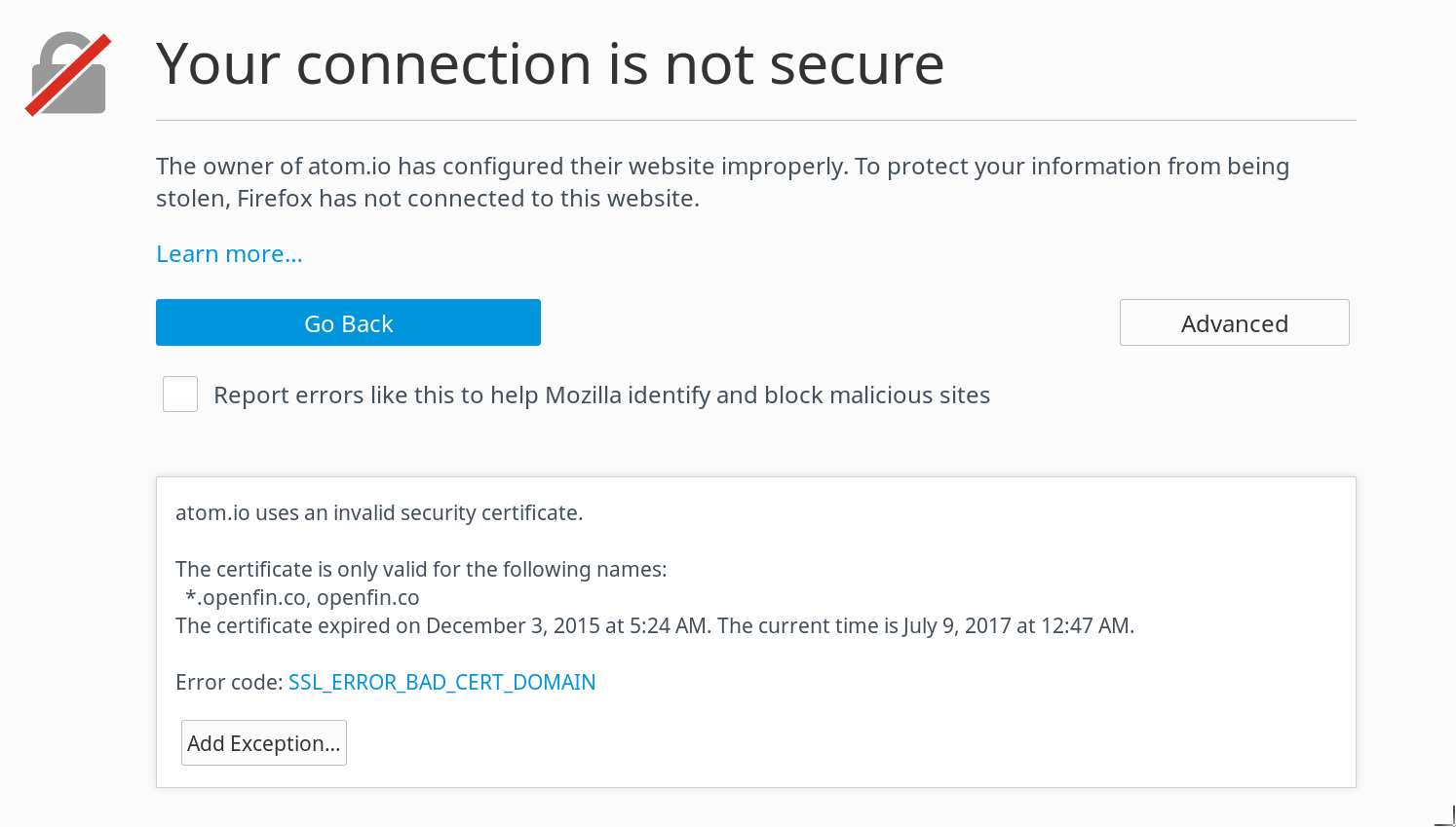 Invalid Security Certificate Issue 128 Atomatom Github