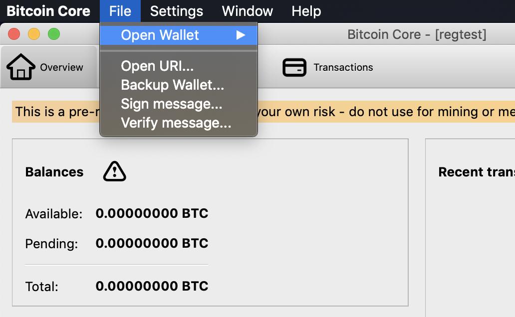 open-menu only default wallet