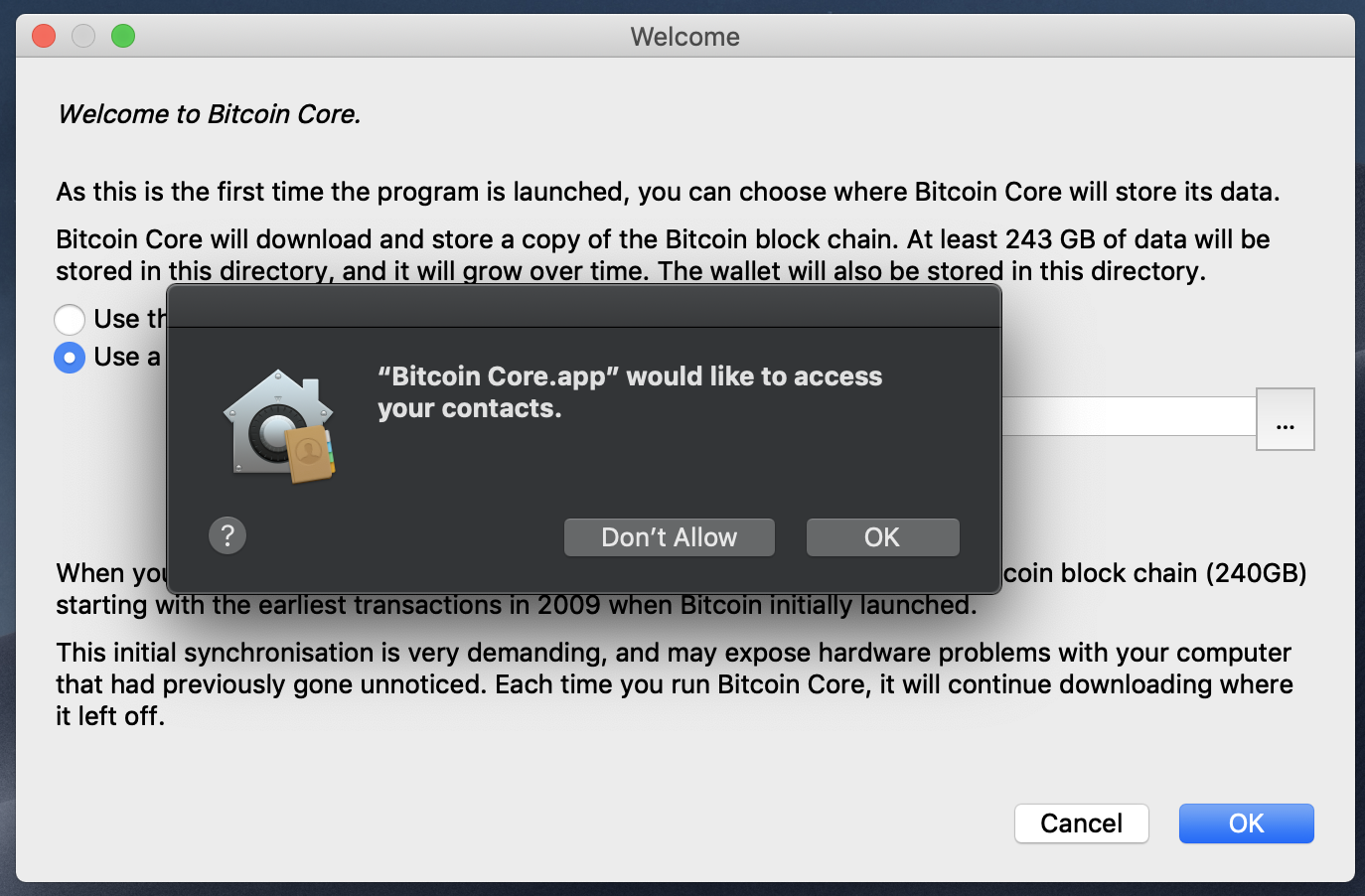Bitcoin Core 0.18.0 requests access to Contacts.app and Calendar.app on macOS Mojave from a new installation on a formatted machine. · Issue #16403 · bitcoin/bitcoin · GitHub Bitcoin Core 0.18.0 requests access to Contacts.app and Calendar.app on macOS Mojave from a new installation on a formatted machine. · Issue #16403 · bitcoin/bitcoin - 웹