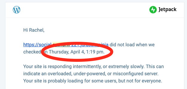 Monitor: Site down web notification has wrong date/time when a site