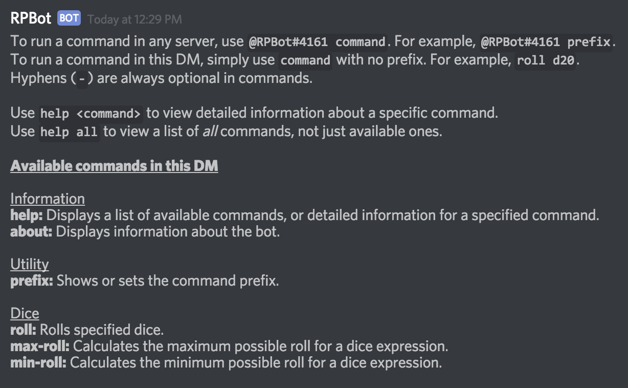 suggestion more detailed in discord command help documentation