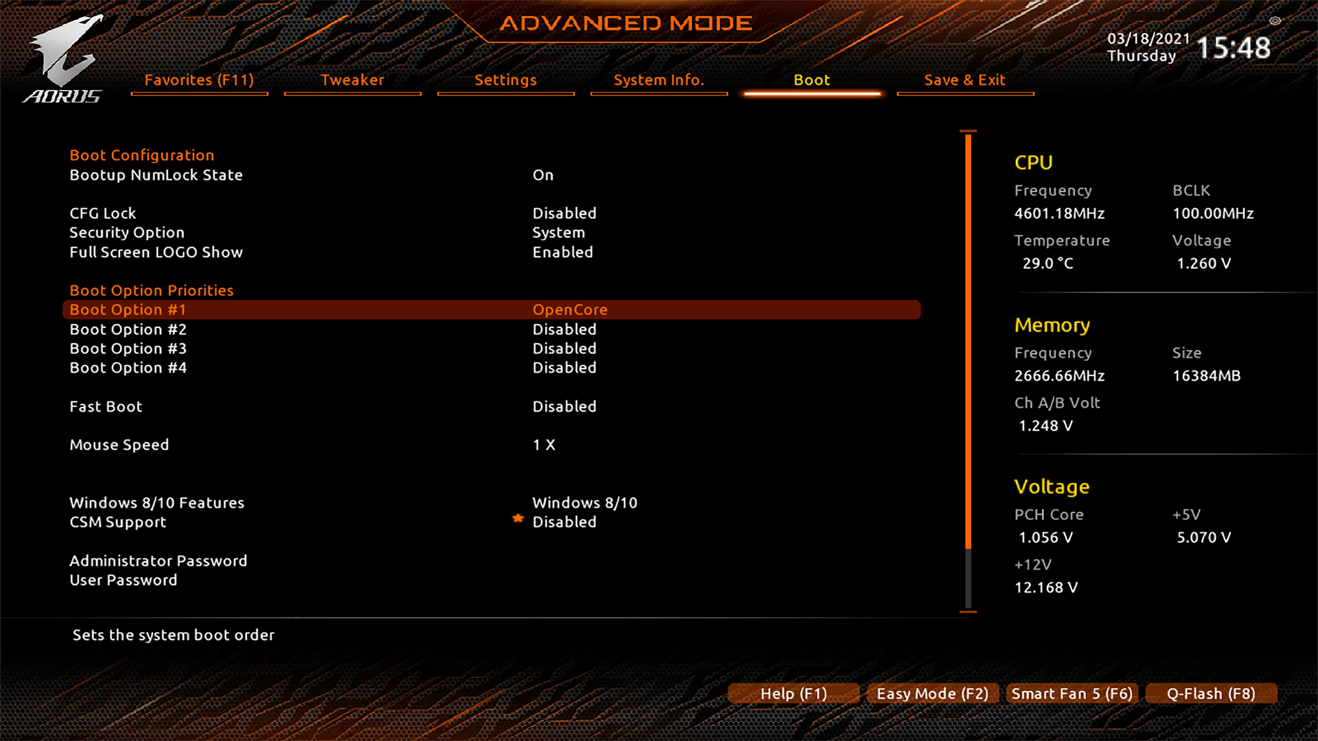 OpenCore Selected as Default BIOS Boot Option