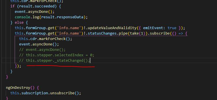 Stepper no stateChanged when updateValueAndValidity · Issue