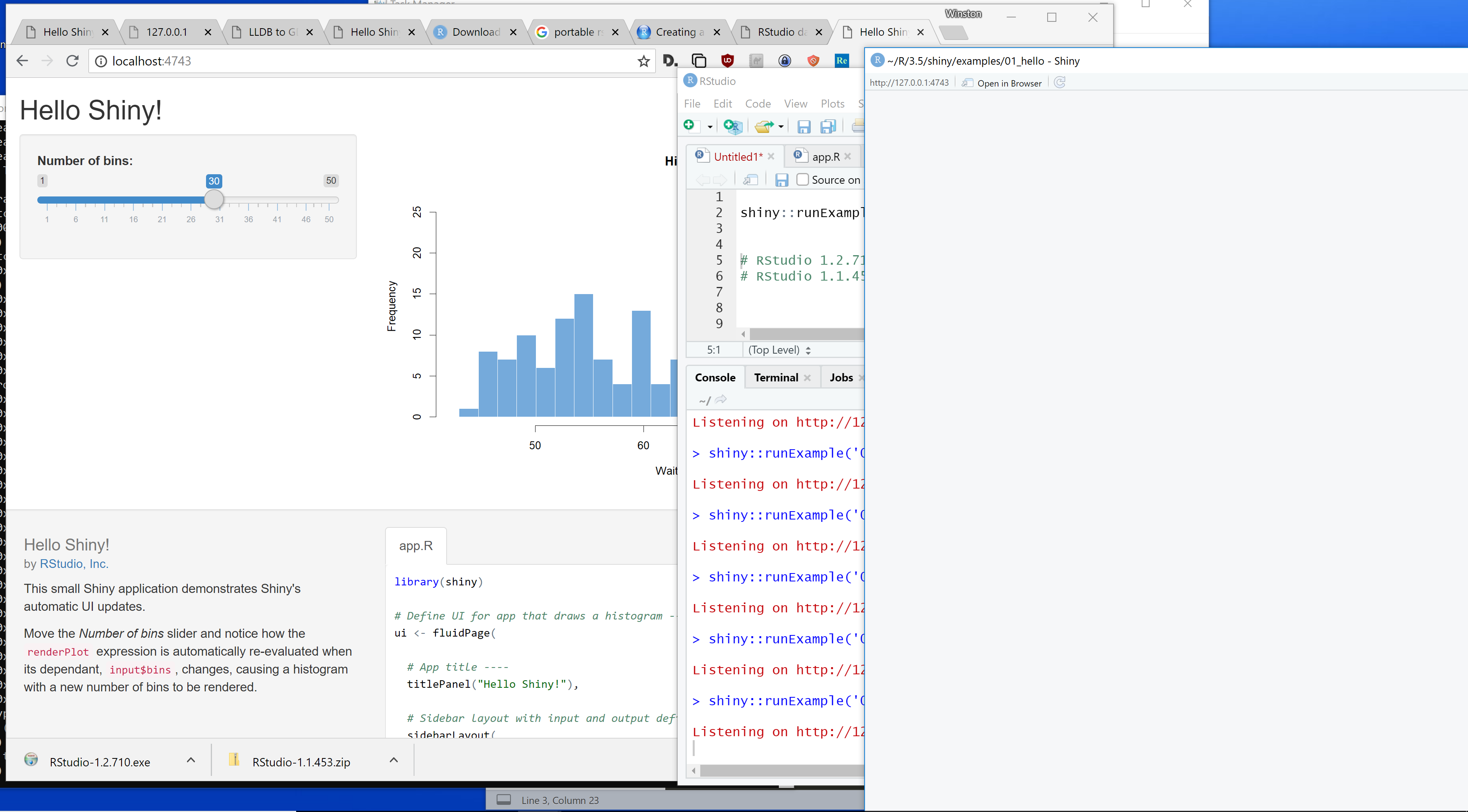 RStudio freezes in Windows after running Shiny app over and