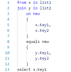 Syntax highlighting fails for LINQ query joins with