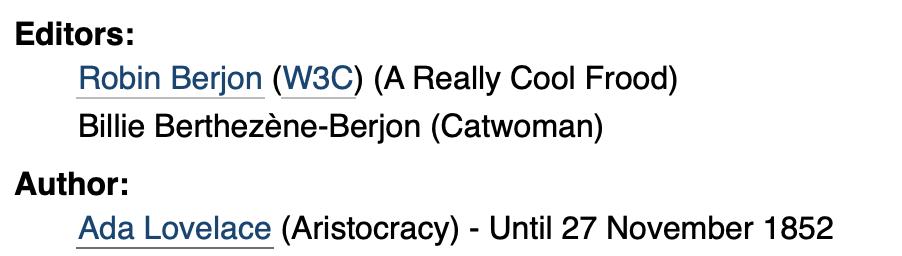 Screenshot of Editors and Authors