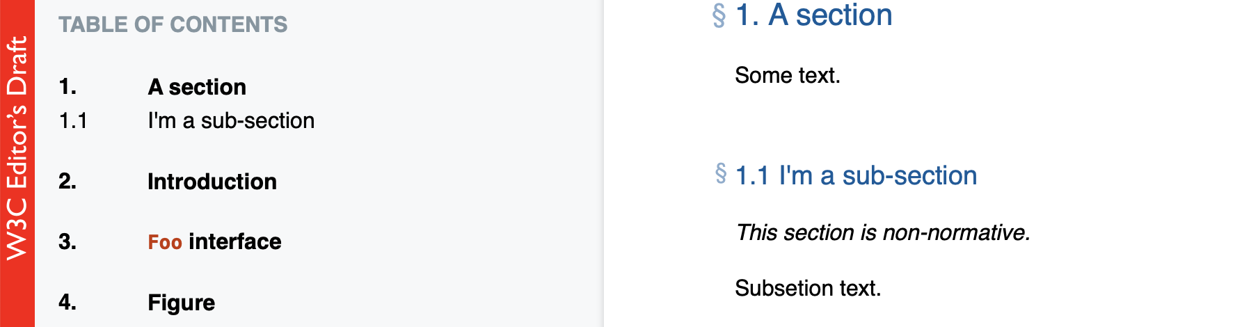 Screenshot of a  section and a sub-section=