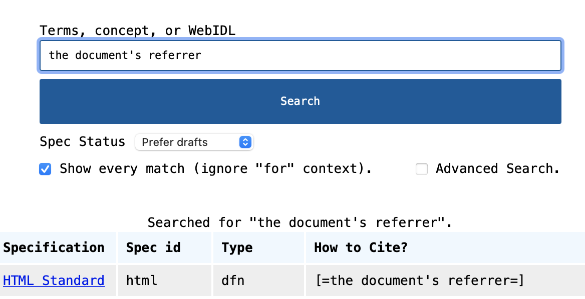 Screenshot of the XREF search interface