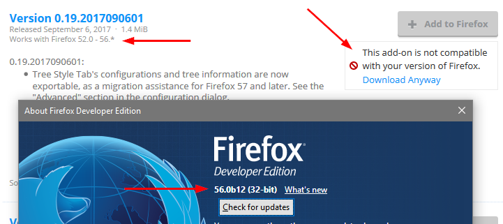 Firefox 56 auto-updates to TST 2 0 2 which says it's not compatible