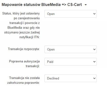 Mapowanie statusów BlueMedia