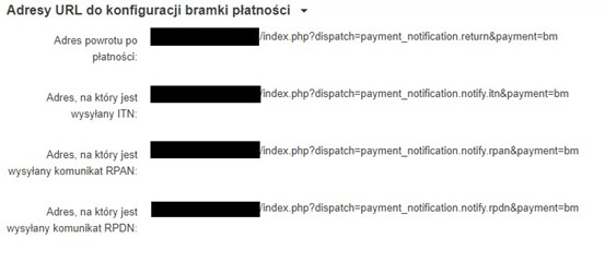 Adresy URL do konfiguracji bramki płatności