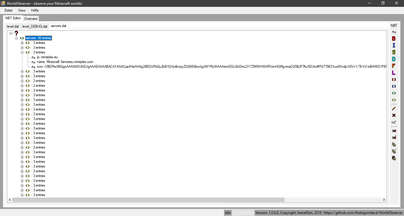 Screenshot of the program, with 3 files opened, currently showing the contents of servers.dat