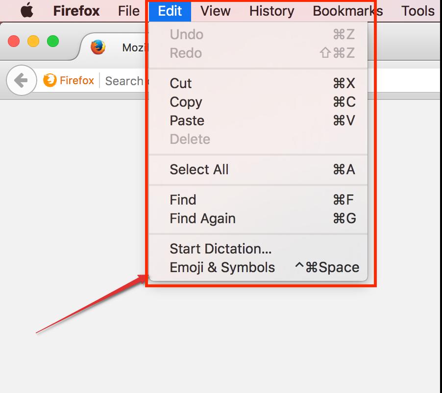 mac edit menu