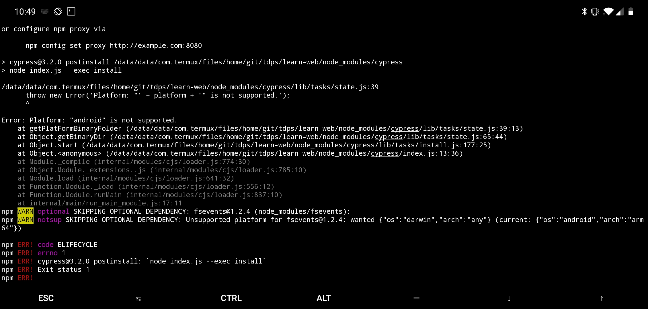 Bug] Fails to install on Termux/Android/Busybox · Issue #4733