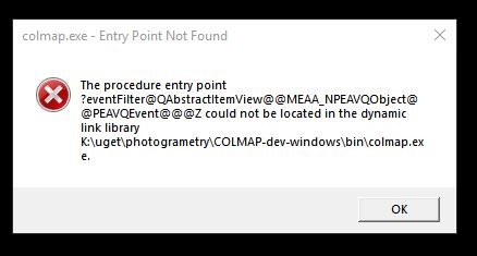 entry point not found · Issue #543 · colmap/colmap · GitHub
