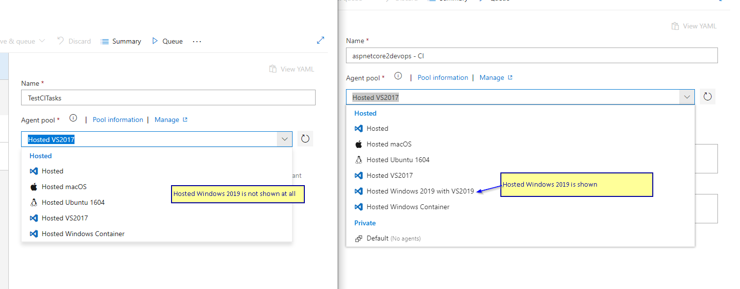 On different Azure DevOps account, the list of MS hosted agents are
