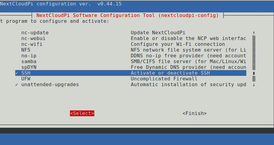 nextcloudpi-config screenshot