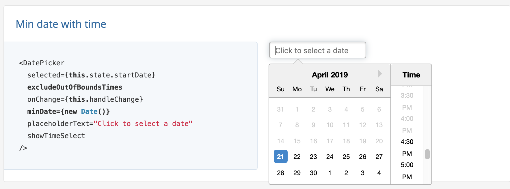 How to exclude time from the past (minTime), only if selected date