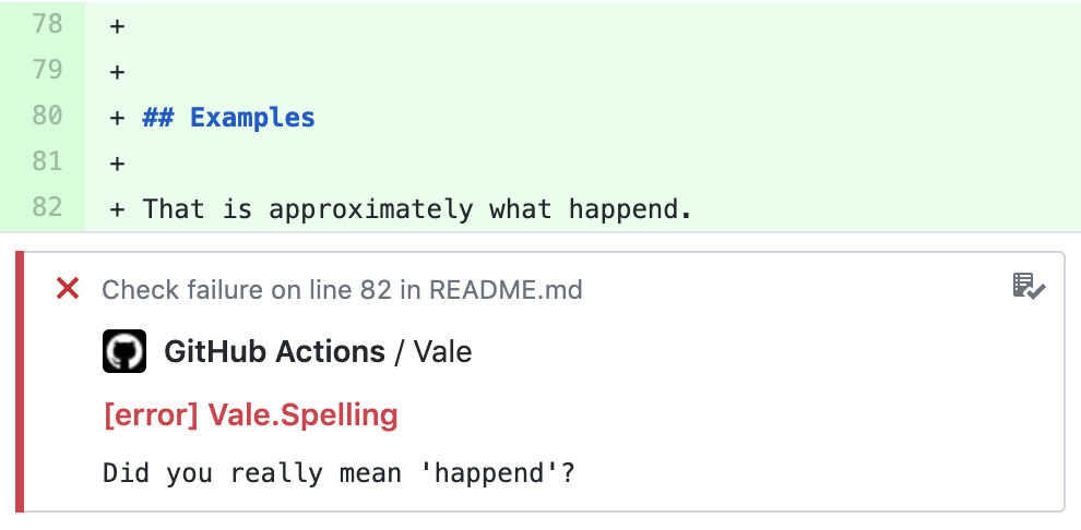 Example Vale output using GitHub's annotations UI