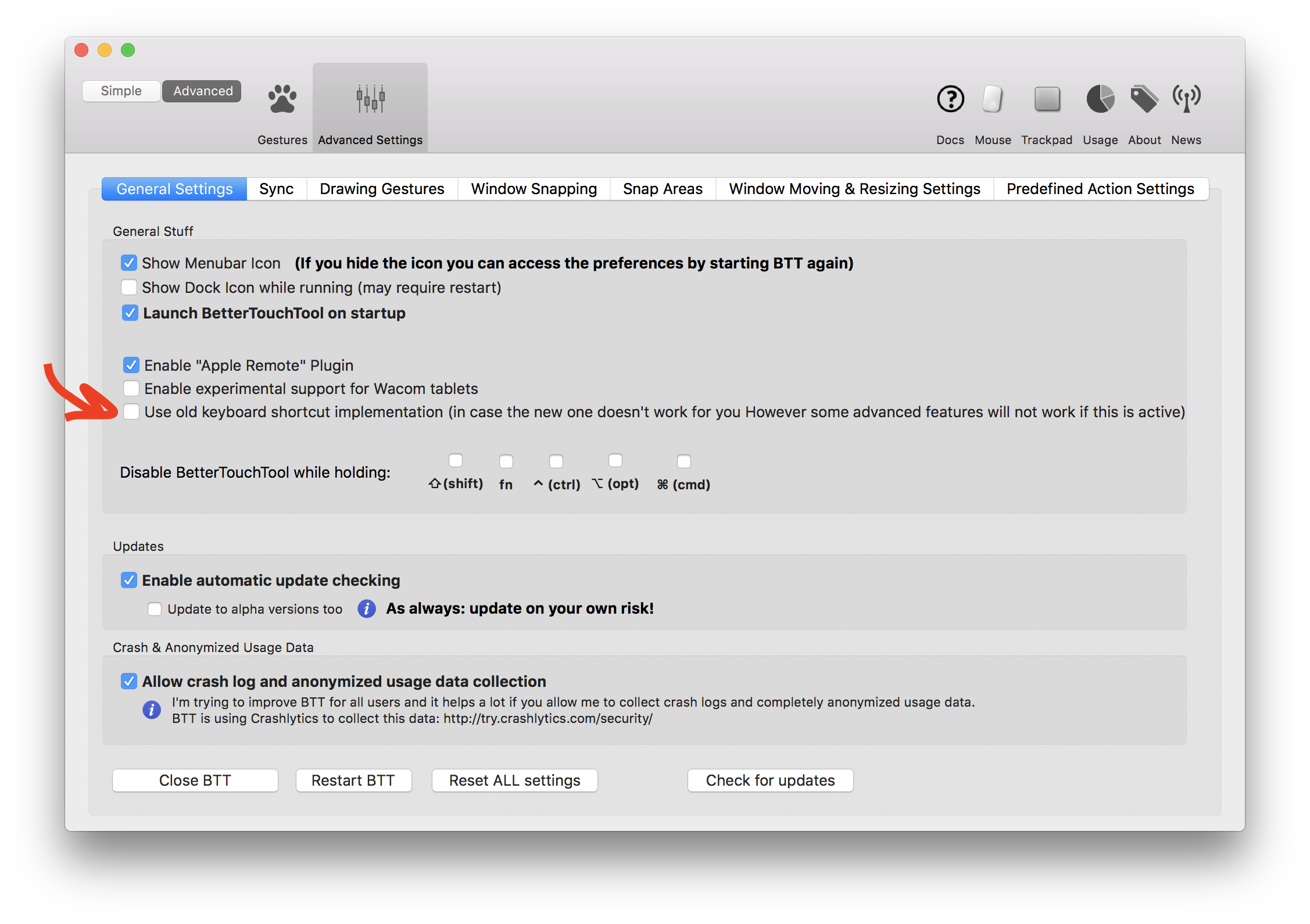 keyboard shortcut not working for ITerm2 but for other apps