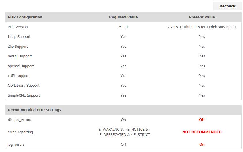 vtiger installation recomends display_errors=on, log_errors