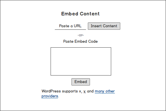 A wireframe showing a possible alternative embed content block type in Gutenberg.