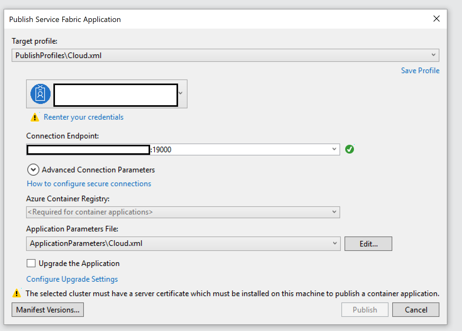 Publish SF app from VS2017 to unsecured cluster · Issue