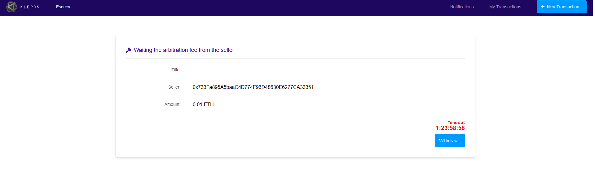 Remove useless withdraw button · Issue #12 · kleros/escrow
